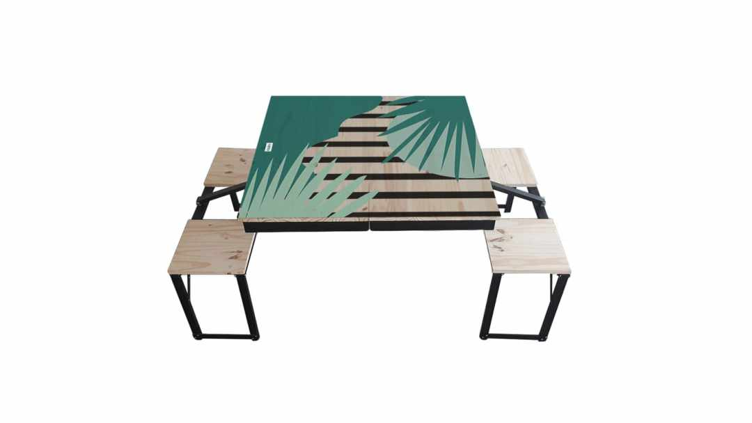 Table Dezyco motif Jungle Stripes