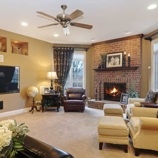 This family room provides hours of entertainment for adults and children.  Interior Design solutions for Arlington Heights, Barrington, Deerfield, Libertyville families.