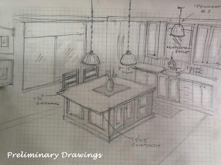 Kitchen Design Sketch - Interior Design Plan Vision