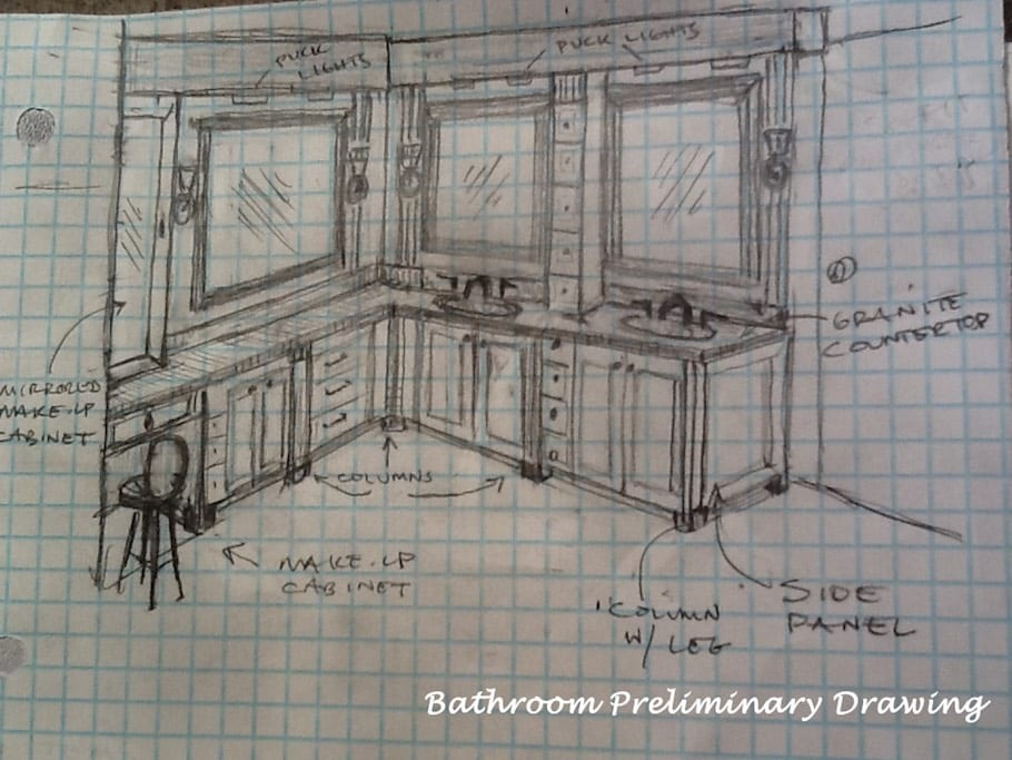 Bathroom Preliminary Design Drawing | Dennis Frankowski DF Design, Inc
