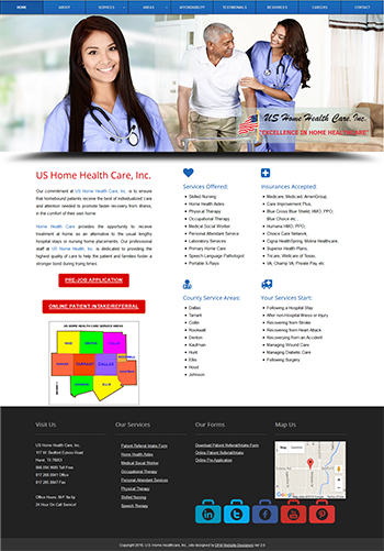 DFW Website Designers Developed the US Home Healthcare Website