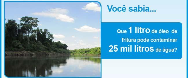 Você sabia que 1 litro de óleo pode contaminar 25 mil litros de água?