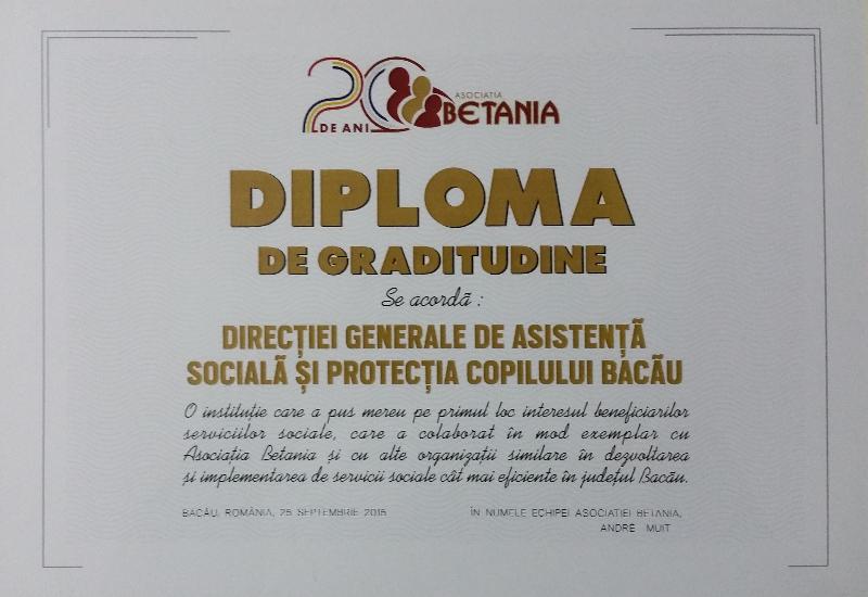 Diploma de gratitudine pentru DGSAPC Bacau