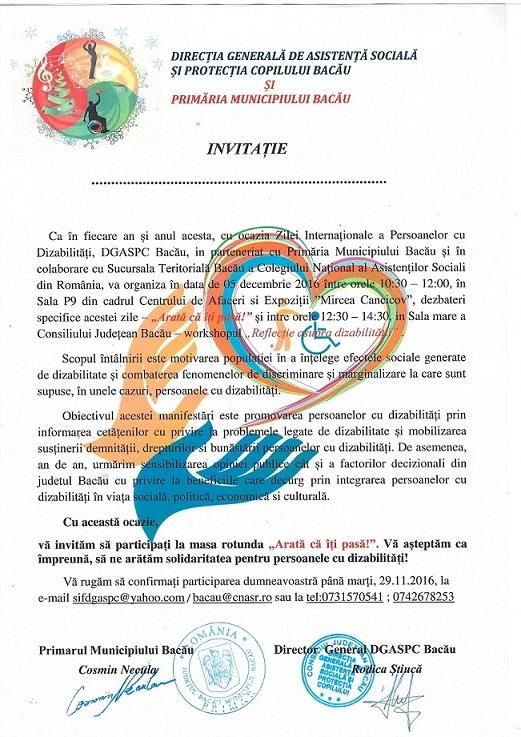 Ziua Internationala a persoanelor cu dizabilitati sarbatorita de DGASPC Bacau