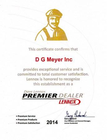 Lennox Premier Dealer Certificate 2014