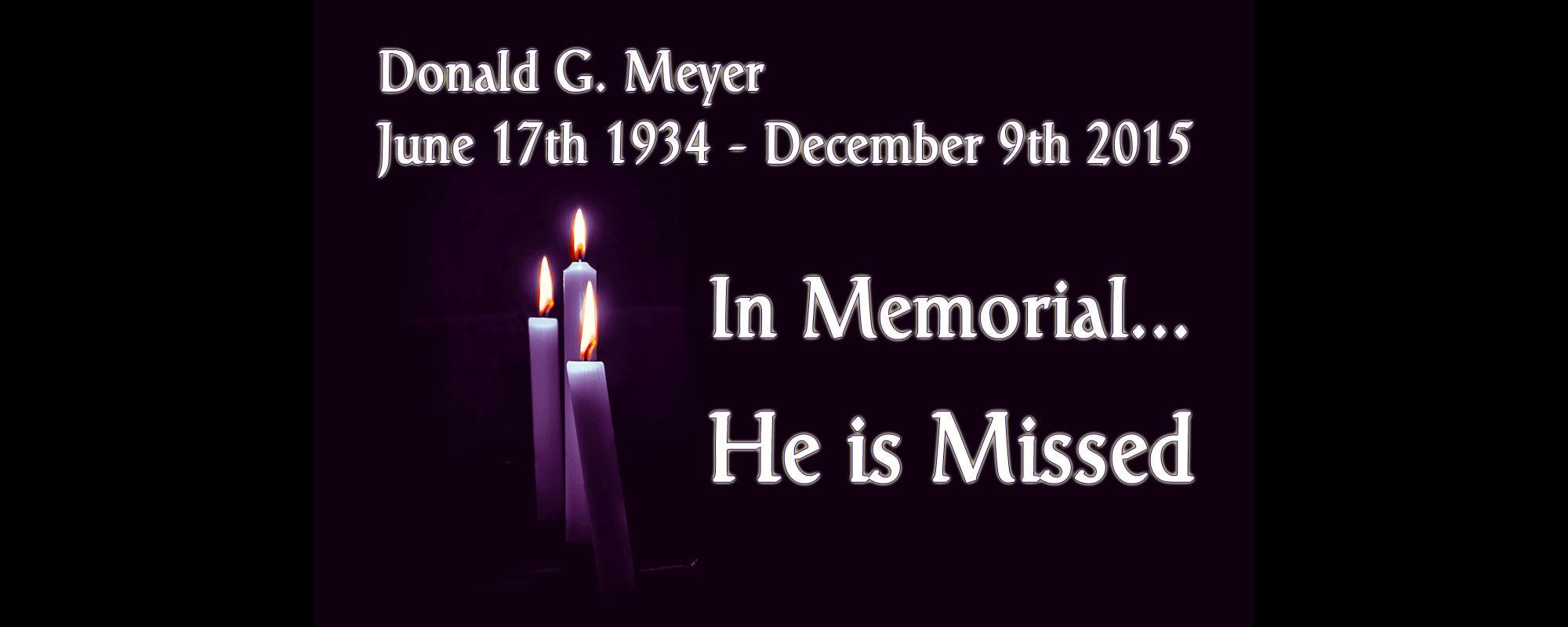 In Memorial- Donald G. Meyer
