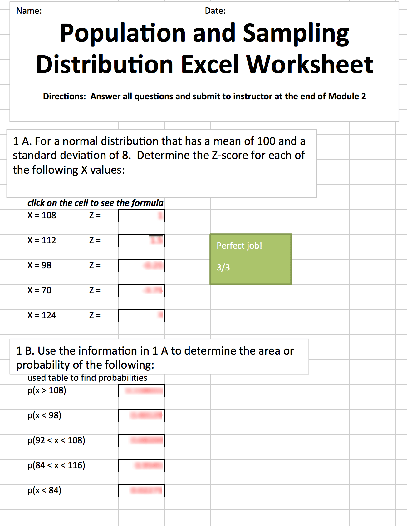 Distribution Worksheet