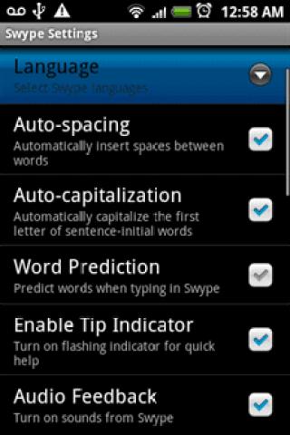 Swype Language