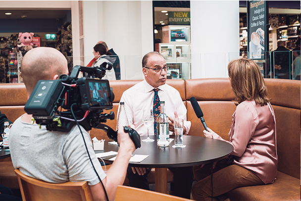 Interviewing Theo Paphitis in Nottingham