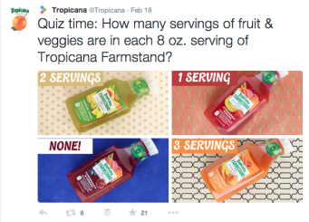 Tropicana quiz tweet