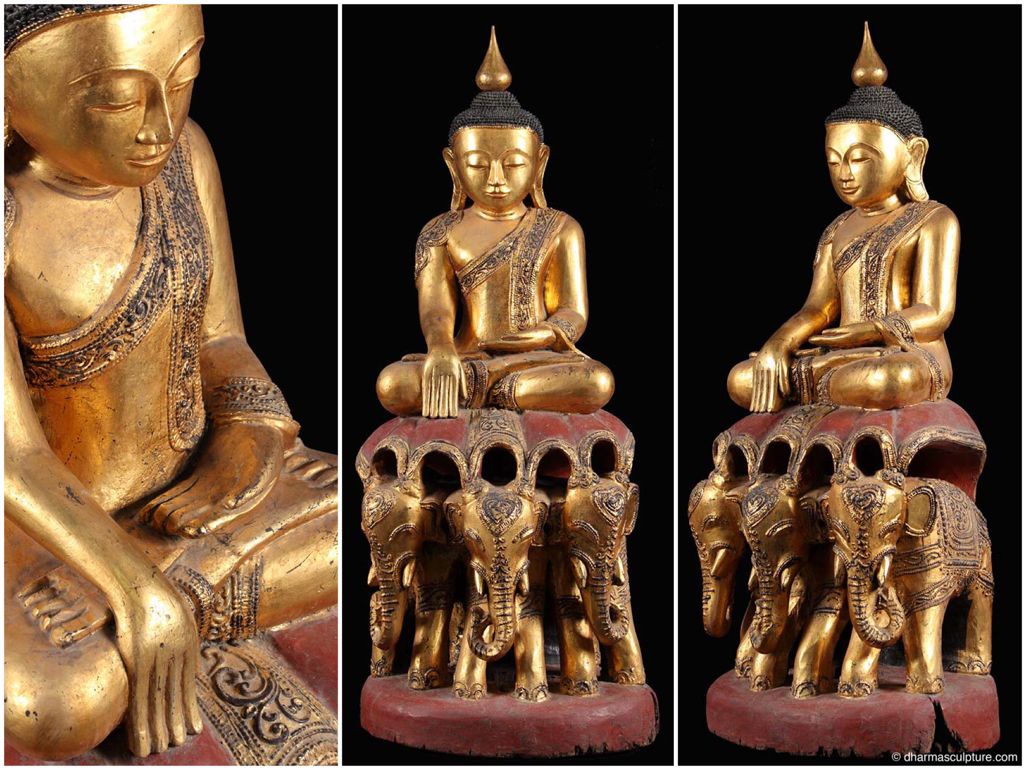 Dharma sculpture blog page 2 of 5 buddha statues buddha this serene golden burmese buddha statue is seated in padmasana with the left hand resting on his lap and right hand extending over the knee in the buycottarizona