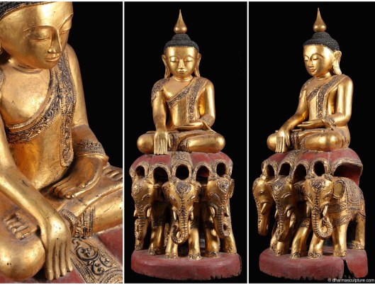 Golden Burmese Buddha on Elephants