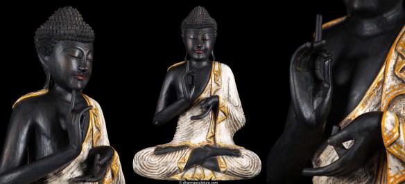 Buddha Statue Dharmachakra Mudra Dark wood