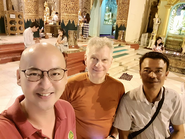 Bob, Heng, DVA's Myanmar Chapter Leader, and our driver Aung Thu, in Yangon, Myanmar at the Shwedagon Pagoda