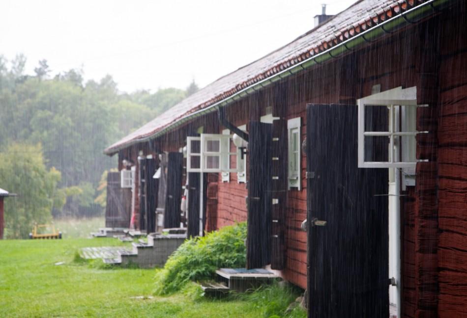 Die Jugendherberge von Arholma im Regen