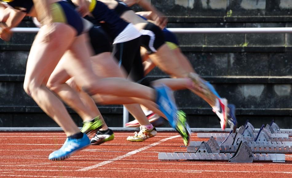 NLV/BLV Landesmeisterschaften in Verden: Start des 100 m Laufs der weiblichen Jugend a