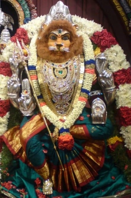 Goddess Pratyangira is worshiped with Pratyangira Devi Gayatri Mantra, Pratyangira Moola Mantra, and Pratyangira Maha Mantra among others.