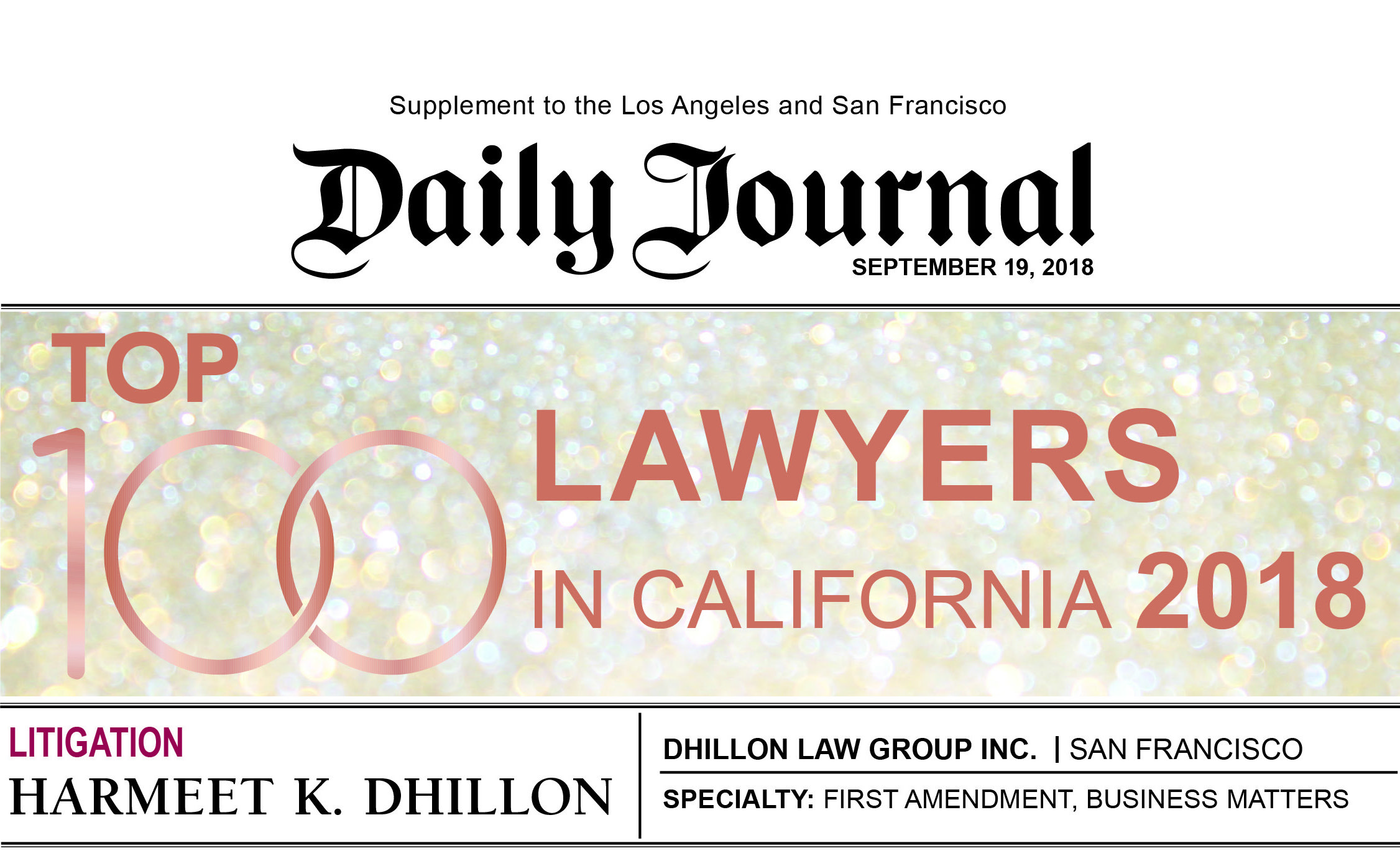 Daily Journal 2018 Top 100 Lawyers California Harmeet Dhillon