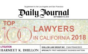 Daily Journal 2018 Top 100 Lawyers California Harmeet Dhillon