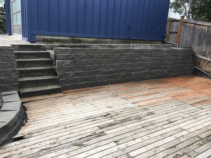 Cinder block retaining wall