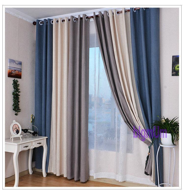 acheter rideaux en lin de style estival pour le rideau doccultation du salon tulle blanc rouge beige bleu gris solide rideaux patchwork lisere de