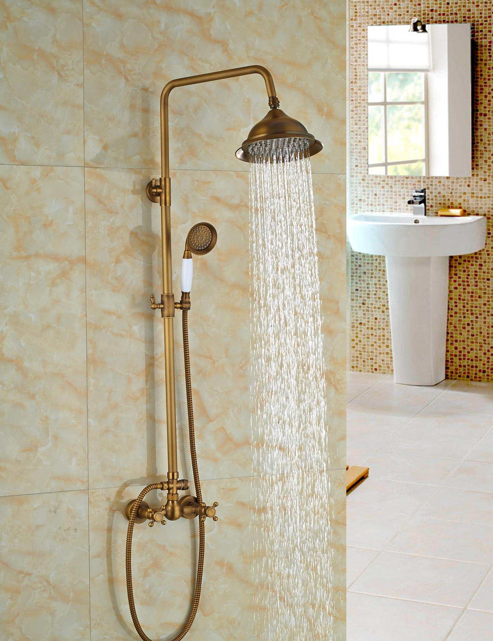 2019 Wholesale And Retail Luxury Antique Brass 8 Round Rain Shower Head Faucet Dual Cross Handles Valve Mixer Tap From Gonglangno1 150 76