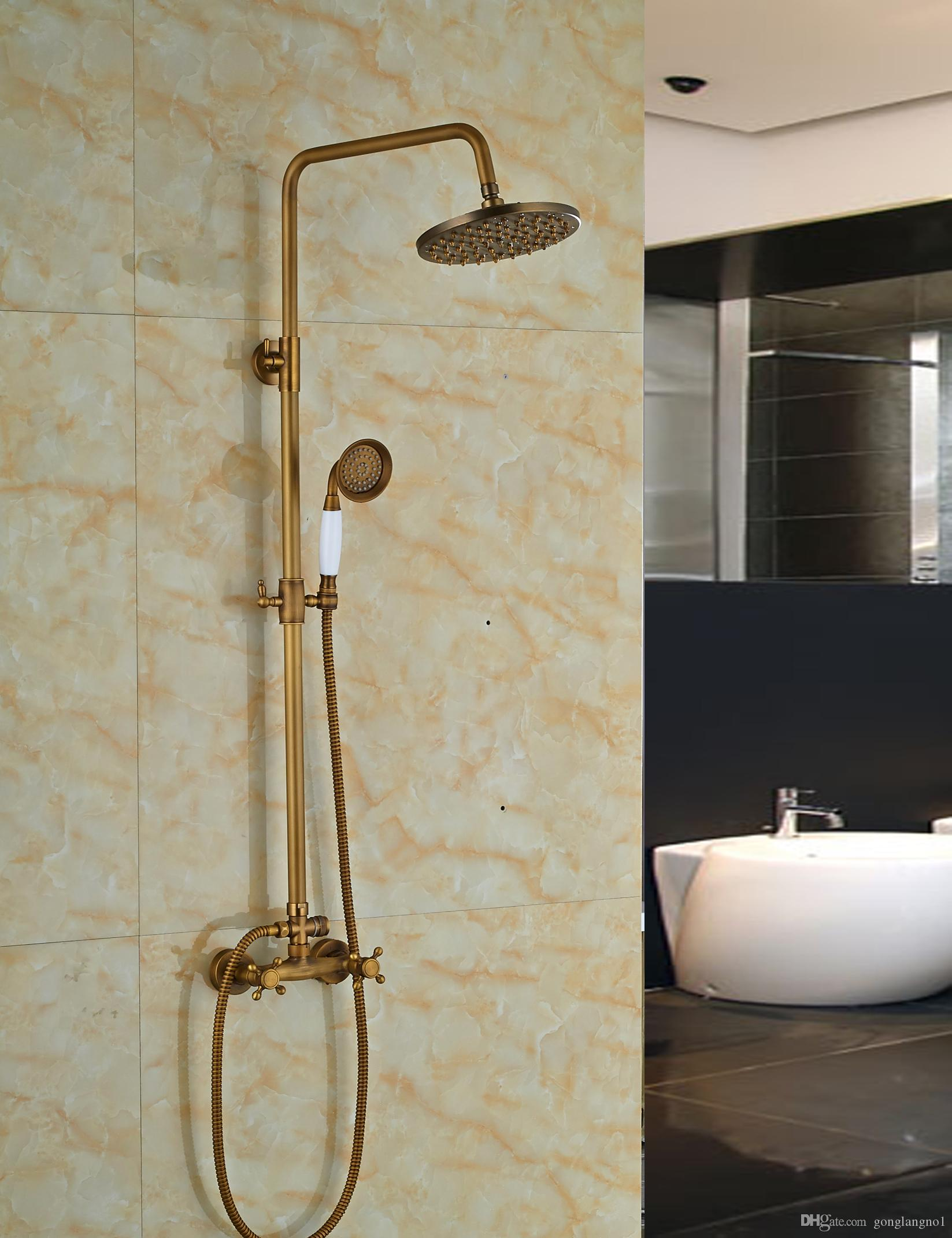 2019 Wholesale And Retail Antique Brass 8 Round Rain Shower Head Dual Valve Mixer Tap W Hand Shower Sprayer Shower From Gonglangno1 130 66