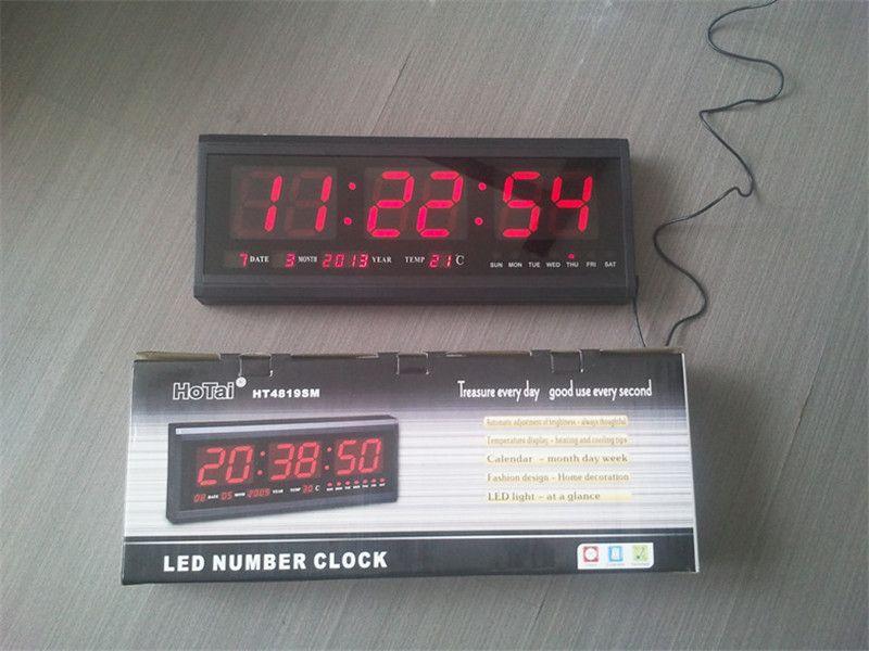 Acheter Ht4819sm 3 Livraison Gratuite Aluminium Grande Horloge Murale Led Numerique Design Moderne De Grande Montre Horloge Numerique Calendrier Electronique De 26 53 Du Jimzhang4 Dhgate Com