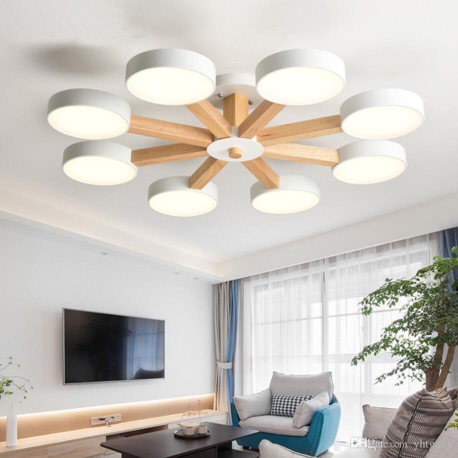 acheter nouveau 220v led lustre plafonnier pour salon moderne blanc lustre en bois chambre luminaire simple surface monte lustres de 103 18 du