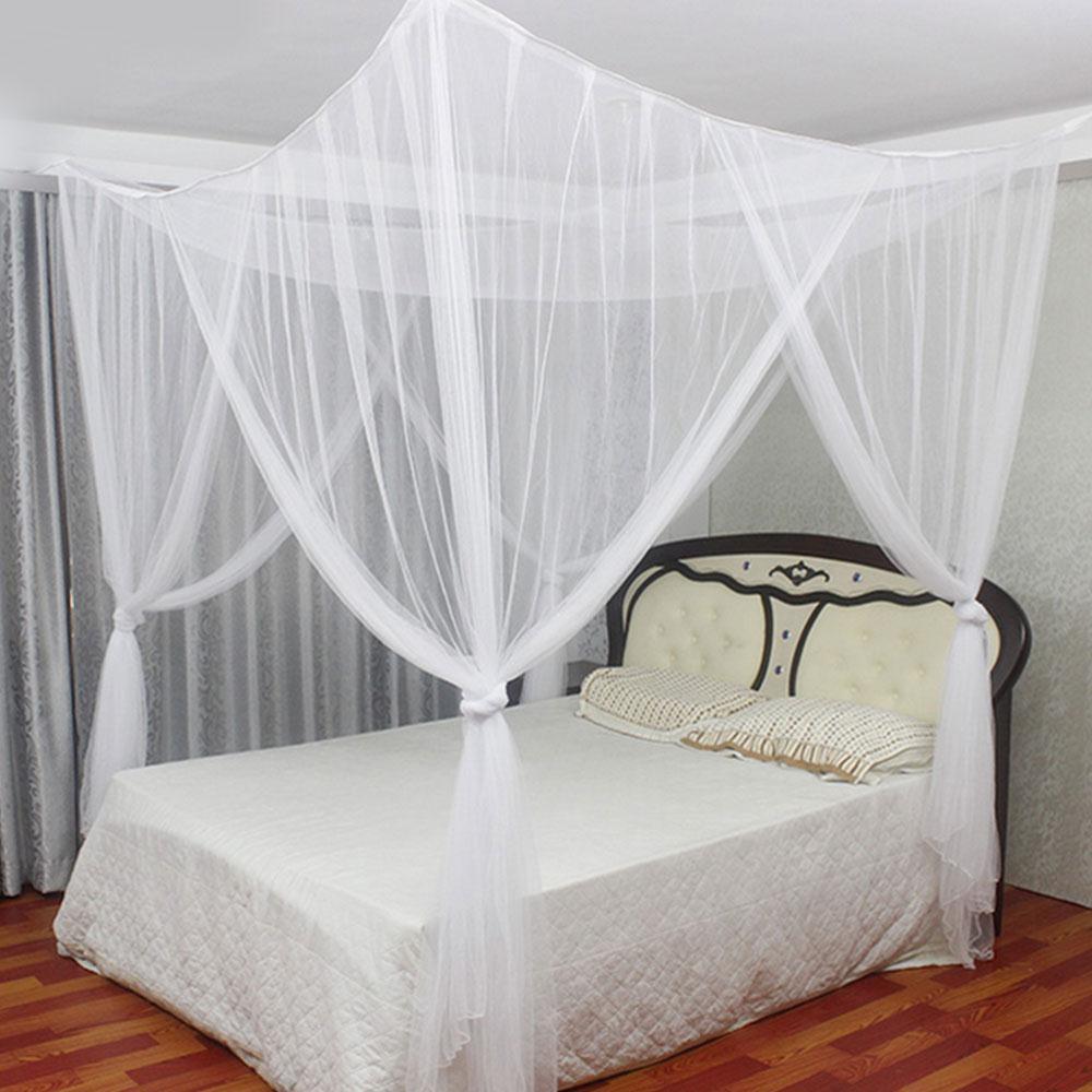 4 doors open 4 corner square bed canopy