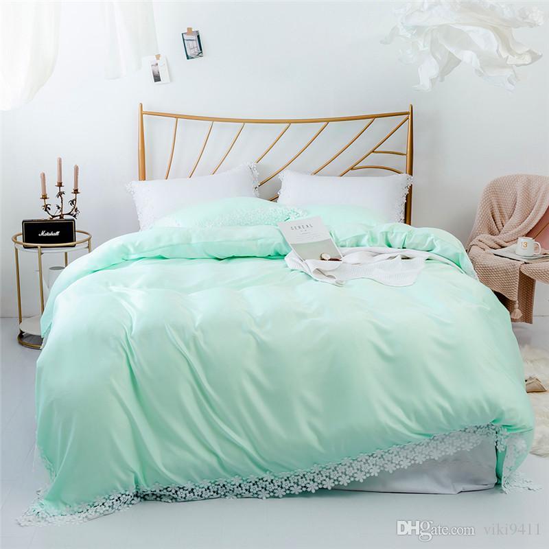 2021 cotton tencel like lace beddingset