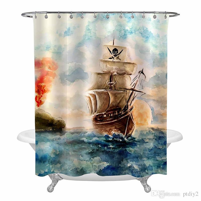 kids shower curtain cartoon pirate ship