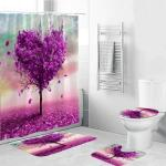 2019 180x180cm Waterproof Polyester Shower Curtain Pattern Bathroom Curtain With 12 Hooks 3xanti Slip Toilet Bath Mat Rug Lid Covers From Shutie