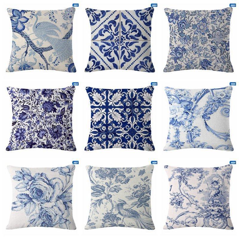 cheap cushion covers blue white printed