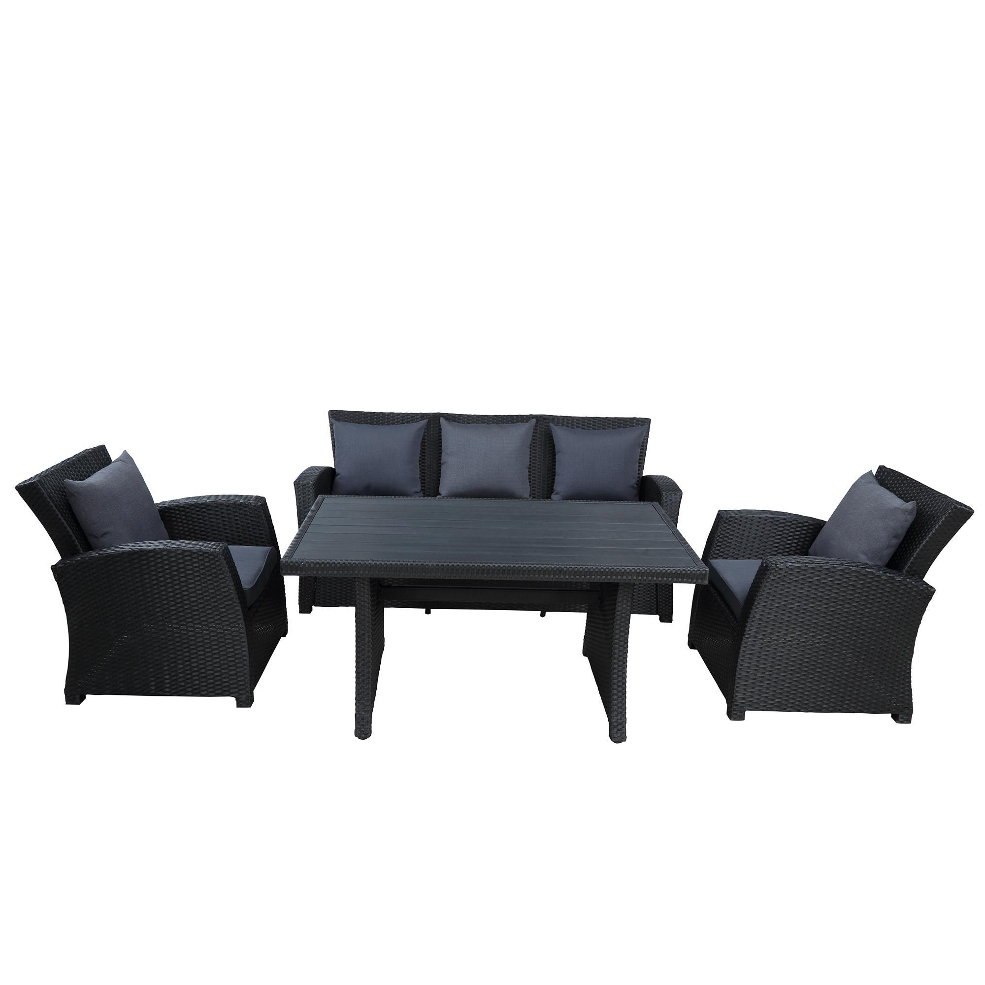2021 classical vintage outdoor patio furniture set conversation set black wicker furniture sofa set with dark grey cushions wy000055aab from wholesalefactory 787 1 dhgate com