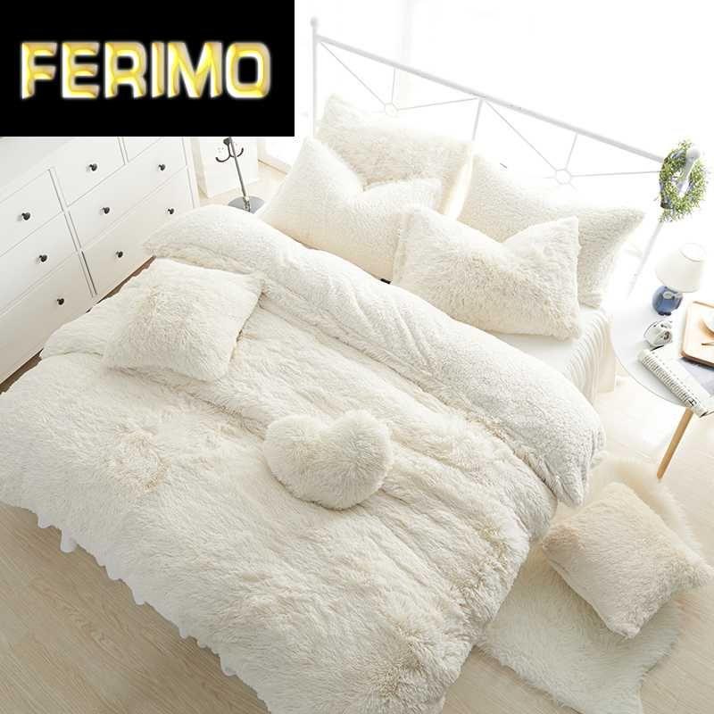white pink fleece bedding set king