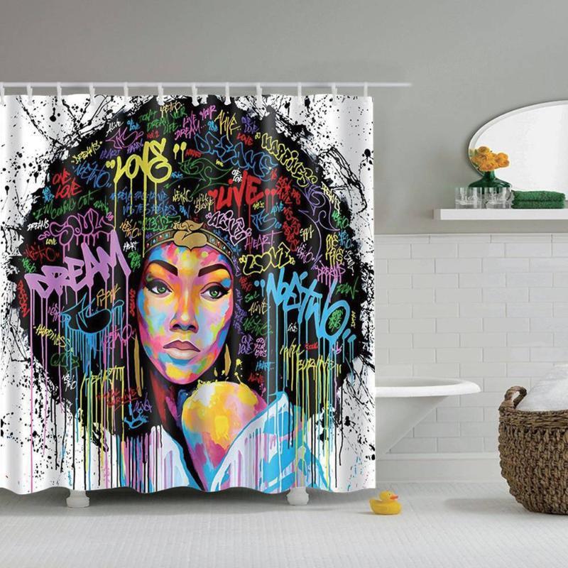 2021 dafield black girl shower curtain