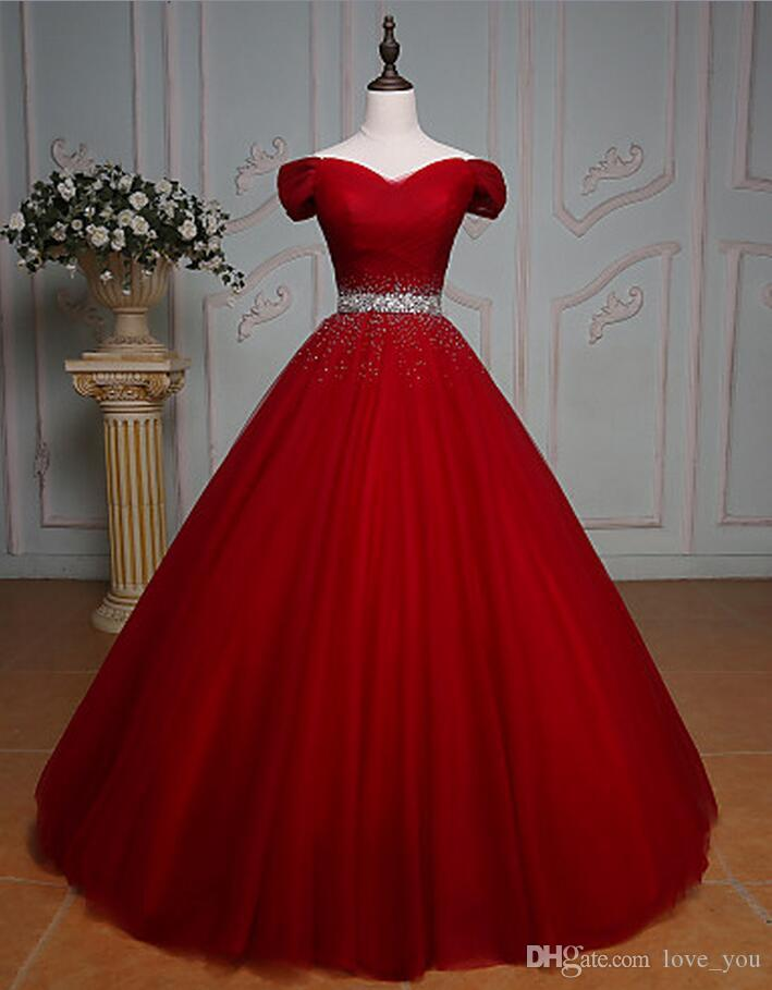 Quinceanera Dresses Off The Shoulder Floor Length Tulle Sweethert Ball Gown 15 18 Birthday Waist Beading Gowns Red Dresses Real Image From Love You 101 26 Dhgate Com