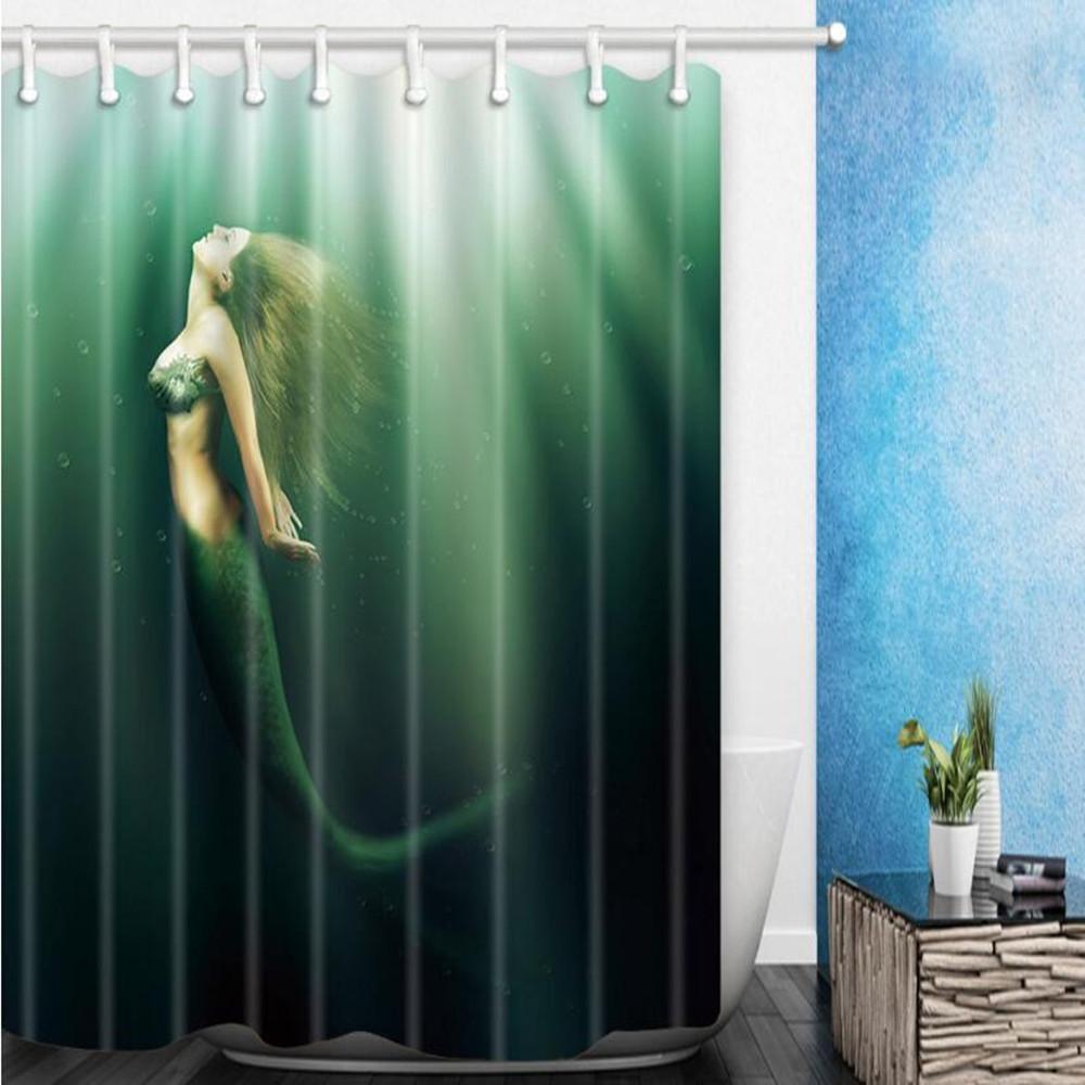 2021 mermaid shower curtain ocean
