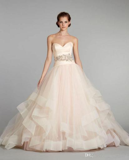 Blush Pink Puffy Princess Wedding Dresses 2017 Tulle Ball Gown     blush pink puffy princess wedding dresses 2017 tulle ball gown pleated silk  satin organza floral jewel