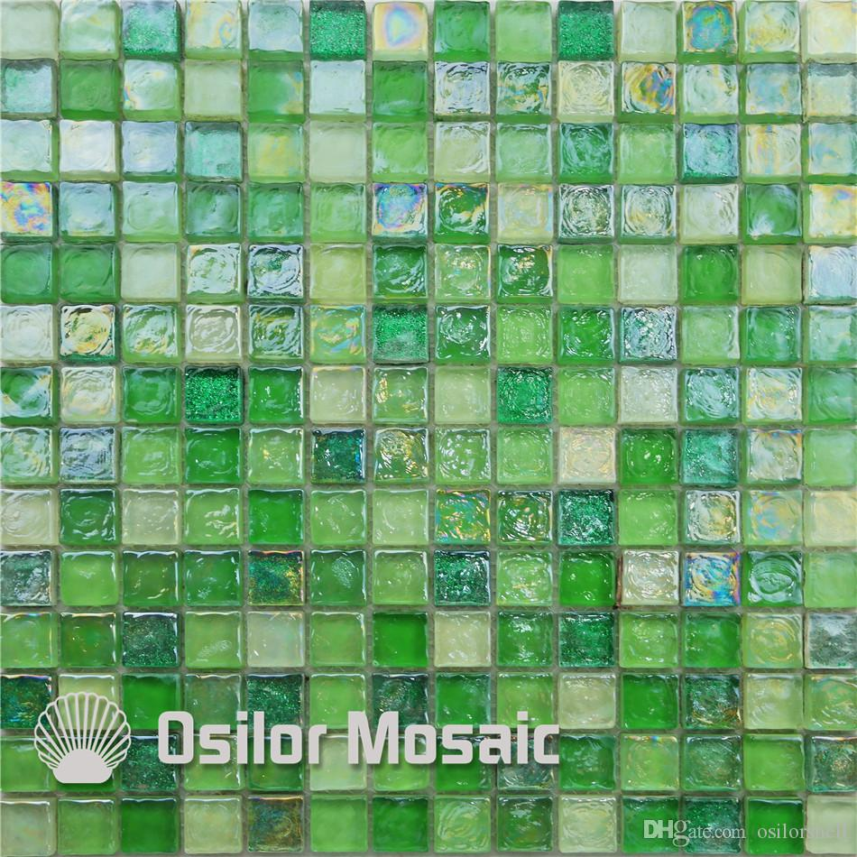 2021 green glass mosaic tile for