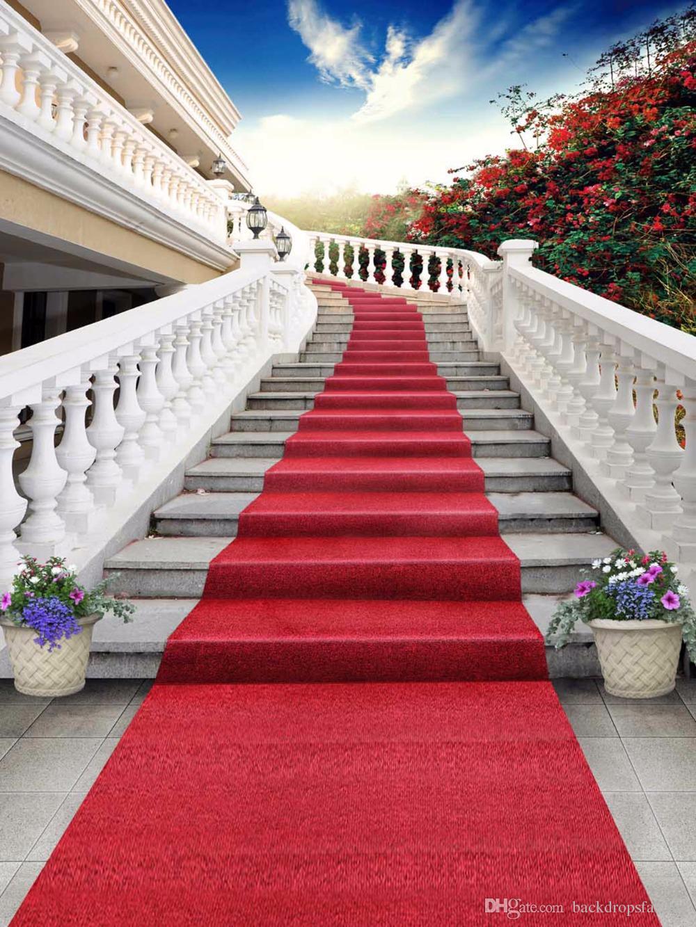 acheter escaliers en plein air mariage decors tapis rouge ciel bleu fleurs rouges toile de fond scenique photographie studio arriere plans tissu de