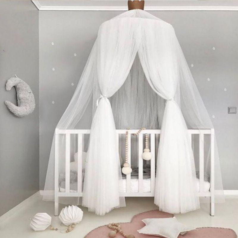 acheter rose gris blanc bebe filles princesse lit valance moustiquaire pour enfant lit de bebe a baldaquin infant bebe lit lit accessoires ensemble de