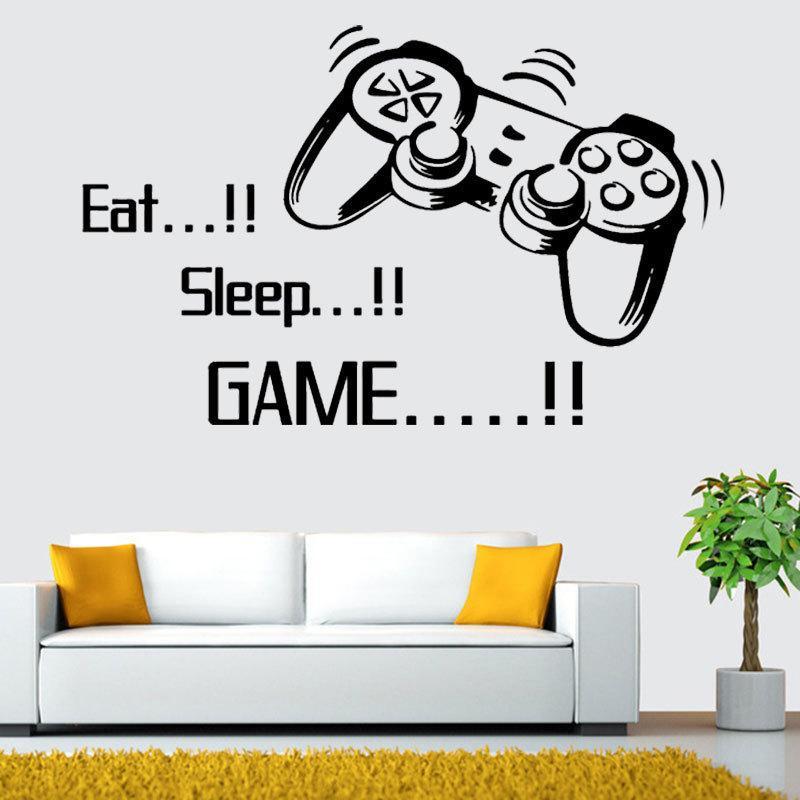acheter eat sleep game creative gamer sticker mural viny gaming joysticker sticker mural muraux pour salon chambre chambre salle de jeux decoration de