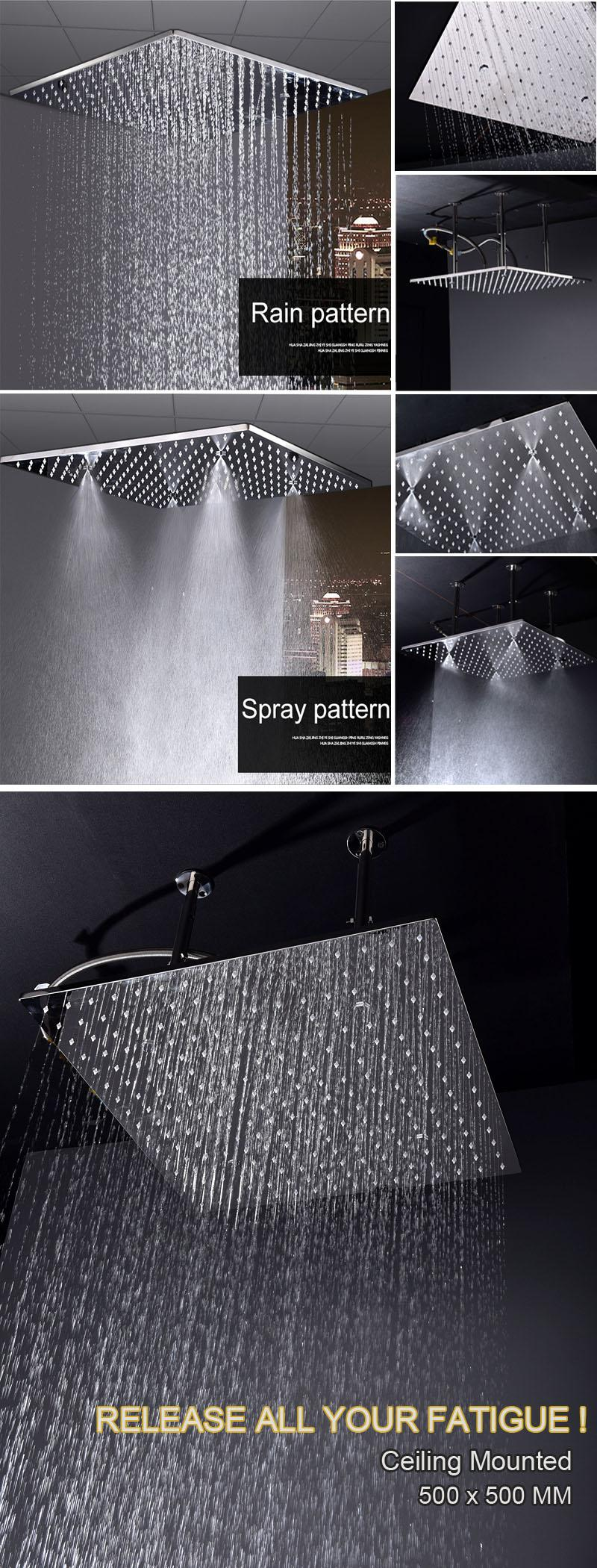 2019 2018 Modern Shower Panel System Big Rainfall Overhead Spa Showerhead Thermostatic Shower Faucets Ceiling Mounted Bathroom Products From Jmhm