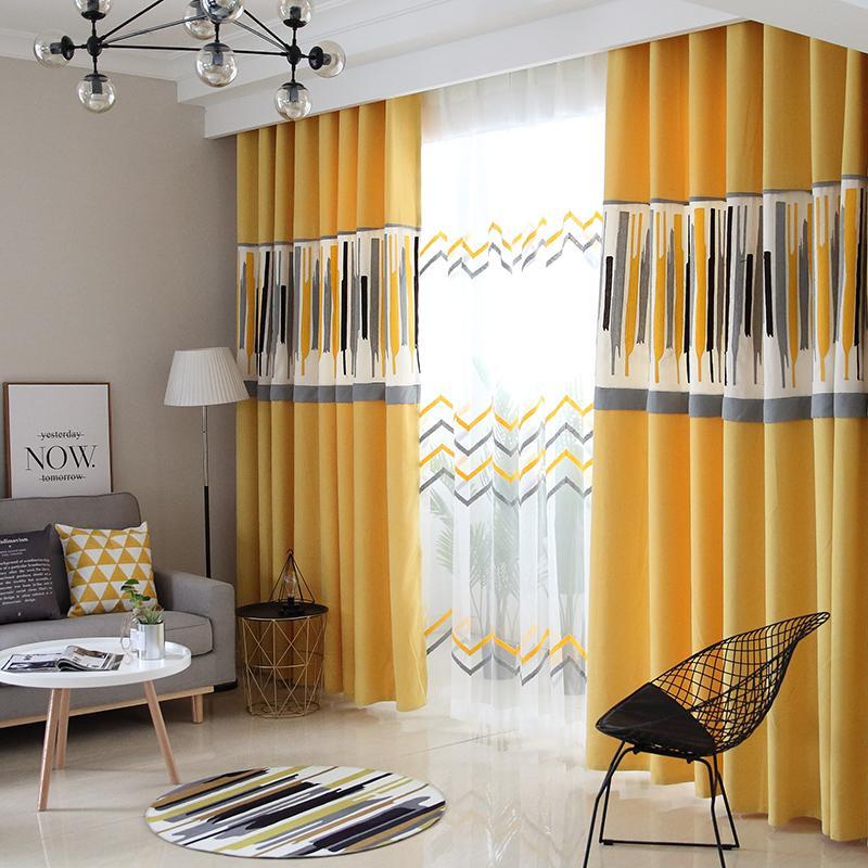 acheter customzied lin nordic coton europeen rideau pour jaune moderne salon gris splicing stores pour motif geometrique chambre de 22 92 du