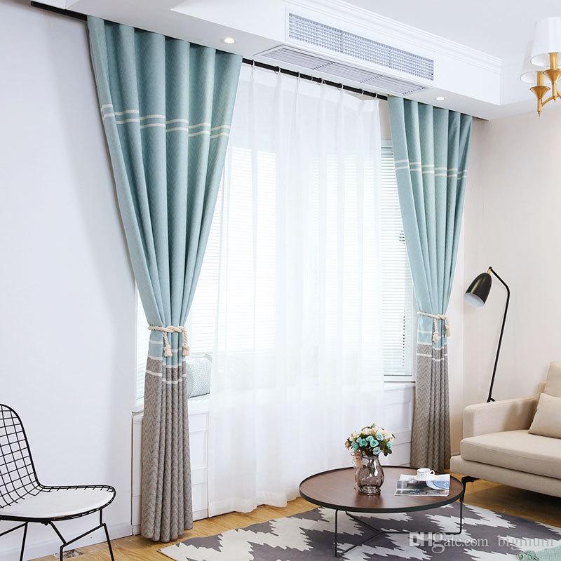 acheter faux lin blackout home decor rideau pour salon rideaux de fenetre stripe pour chambre a coucher moderne rideau de lin decoration de 14 81 du