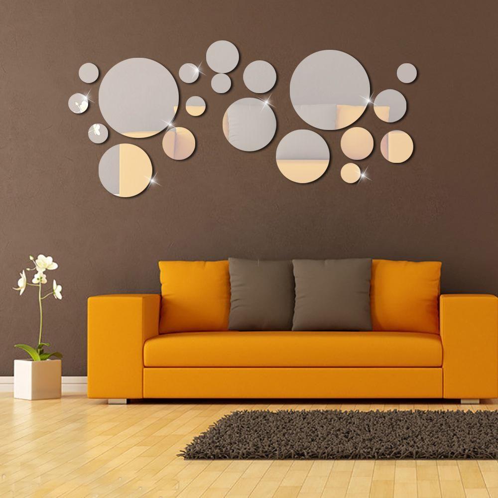 acheter cercle argent miroir stickers muraux 3d diy effet miroir sticker mural chambre en plastique amovible affiche murale decoration de la maison