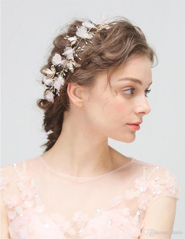 2019 wedding hair band hairband flowers headdress gold bridal headband pure handmade party wedding hair accessories butterfly bridal headpiece from