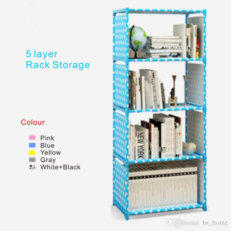 2021 new book storage rack 5 layer thickened stainless steel pipe rack storage film covered waterproof nonwoven fabric from hs home 33 24 dhgate com
